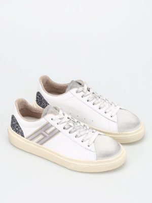 Hogan: trainers online - H340 leather and glitter sneakers