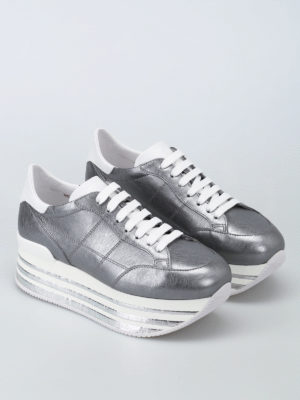 Hogan: trainers online - H349 metallic leather sneakers