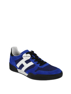 Hogan: trainers online - H357 blue suede and mesh sneakers