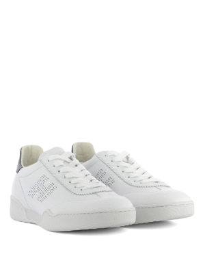 Hogan: trainers online - H357 drilled logo leather sneakers