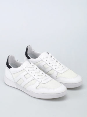 Hogan: trainers online - H357 leather and fabric sneakers