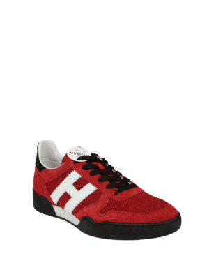 Hogan: trainers online - H357 red suede and mesh sneakers