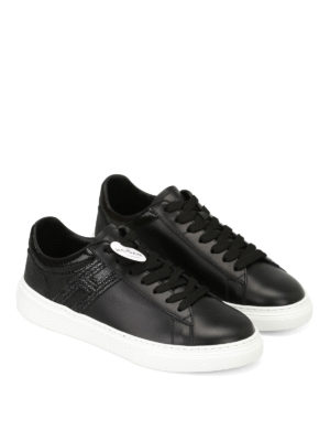 Hogan: trainers online - H365 low top black leather sneakers