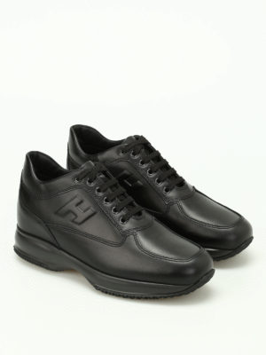 Hogan: trainers online - Interactive black leather sneakers