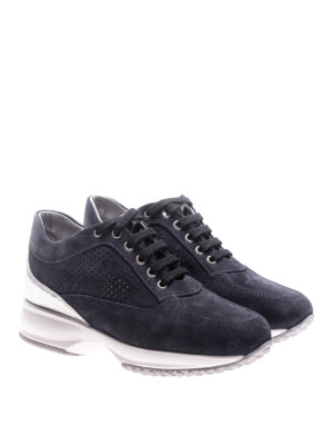 Hogan: trainers online - Interactive blue suede sneakers