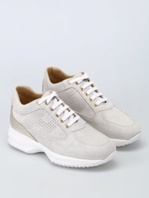 Hogan: trainers online - Interactive drilled H suede sneaker