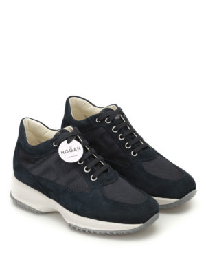 Hogan: trainers online - Interactive ink blue suede sneakers