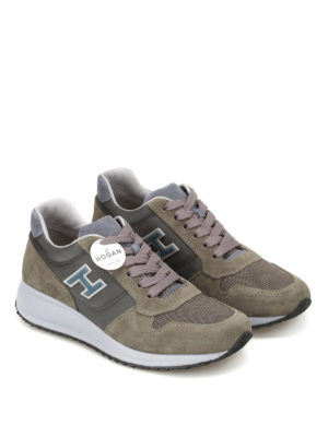 Hogan: trainers online - Interactive N20 olive multi fabric