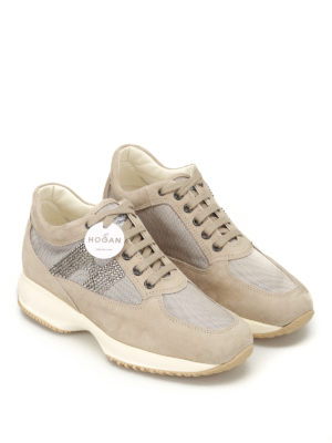 Hogan: trainers online - Interactive strass H suede sneakers