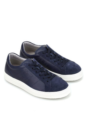 Hogan: trainers online - Leather drilled logo sneakers