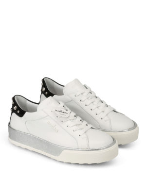 Hogan: trainers online - Leather sneakers with round studs