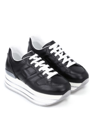 Hogan: trainers online - Maxi 222 glossy leather sneakers