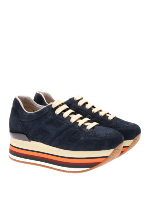 Hogan: trainers online - Maxi H222 blue suede sneakers