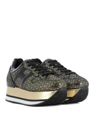 Hogan: trainers online - Maxi H222 gold geometric sneakers