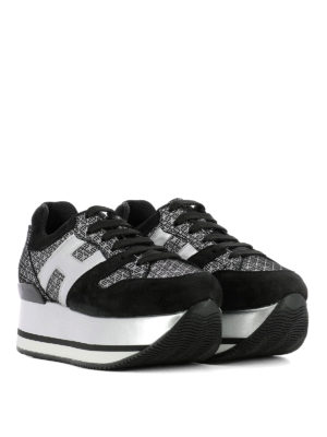 Hogan: trainers online - Maxi H222 silver geometric sneakers