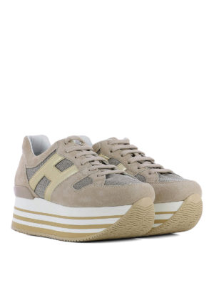 Hogan: trainers online - Maxi H222 taupe suede sneakers