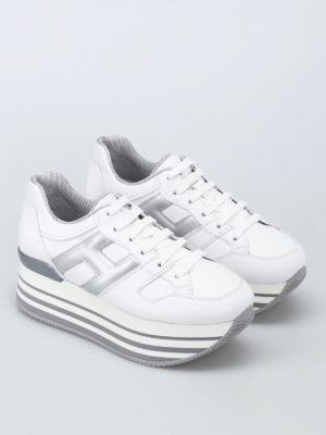 Hogan: trainers online - Maxi H222 white leather sneakers