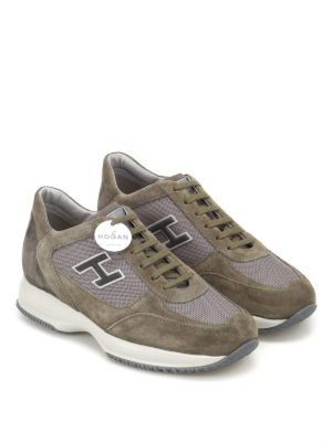Hogan: trainers online - New Interactive H Flock olive shoes