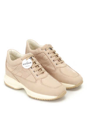 Hogan: trainers online - Perforated H Interactive nude shoes