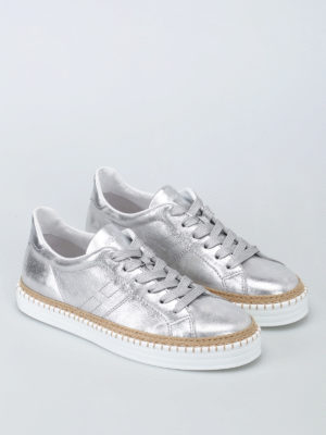 Hogan: trainers online - R260 silver leather sneakers