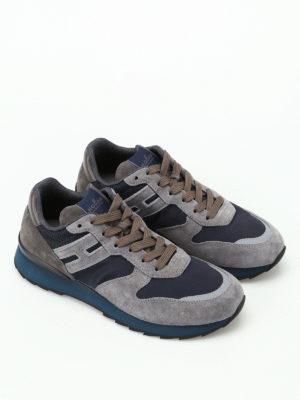 Hogan: trainers online - R261 grey suede running sneakers