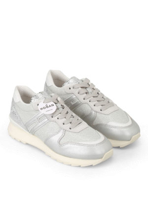 Hogan: trainers online - R261 silver lurex leather sneakers