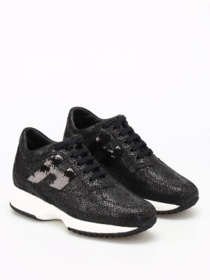 Hogan: trainers online - Sequined H shiny suede Interactive