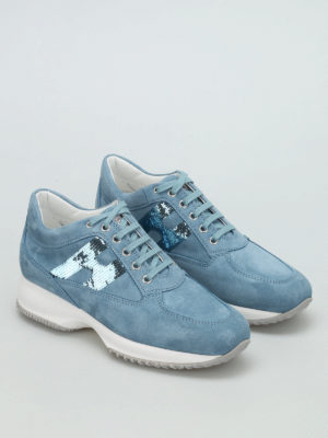 Hogan: trainers online - Sequined H suede Interactive