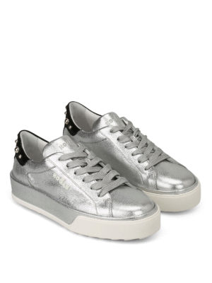 Hogan: trainers online - Silver sneakers with round studs