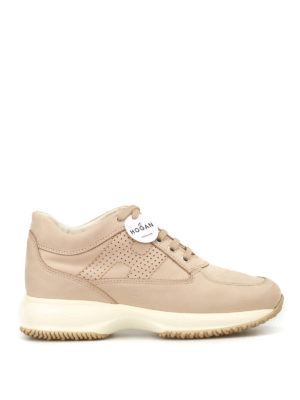 Hogan: trainers - Perforated H Interactive nude shoes
