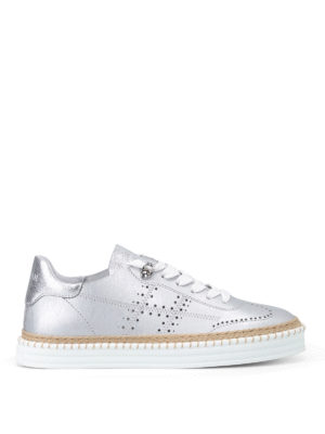 Hogan: trainers - R260 silver-tone leather sneakers