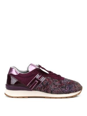 HOGAN: sneakers - Sneaker R261 in camoscio e glitter viola