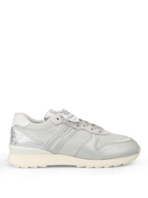 Hogan: trainers - R261 silver lurex leather sneakers