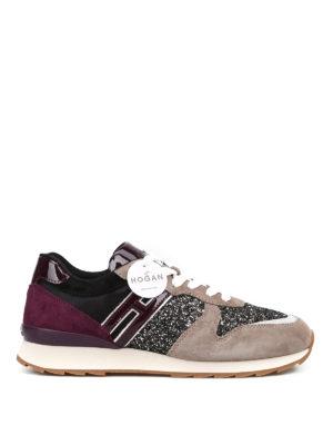 HOGAN: sneakers - Sneaker basse R261 in suede e glitter