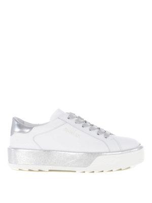 HOGAN: sneakers - Sneaker R320 in pelle bianca e argento