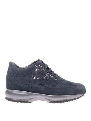 HOGAN: sneakers - Sneaker Interactive blu notte con H laminata