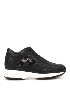 Hogan: trainers - Sequined H shiny suede Interactive
