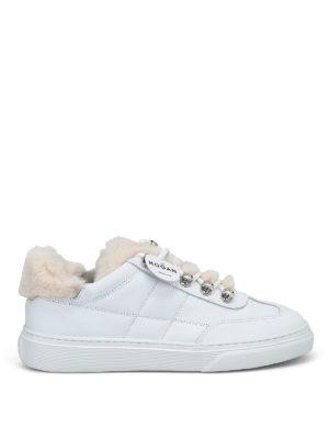 HOGAN: sneakers - Sneaker in pelle con dettagli in montone