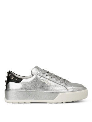 Hogan: trainers - Silver sneakers with round studs