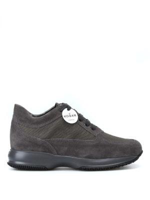 HOGAN: sneakers - Interactive grigie in suede e tessuto tecnico