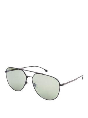 Hugo Boss: sunglasses - Black titanium aviator sunglasses