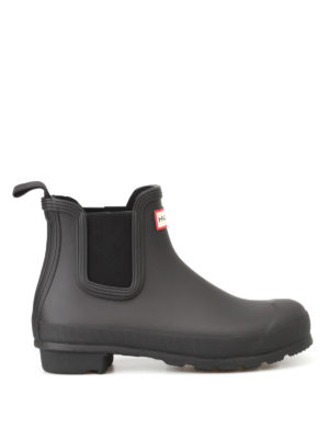 Hunter: ankle boots - Natural black rubber Chelsea boots