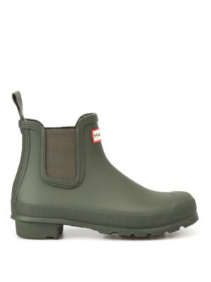 Hunter: ankle boots - Natural green rubber Chelsea boots