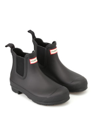 Hunter: ankle boots online - Natural black rubber Chelsea boots