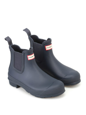 Hunter: ankle boots online - Natural navy rubber Chelsea boots