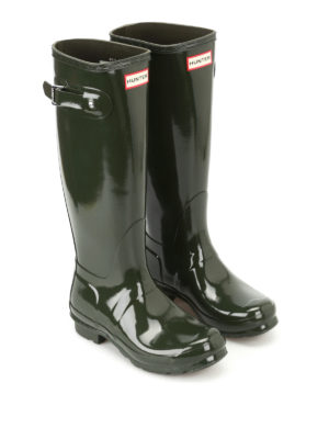Hunter: boots online - Tall Gloss olive rubber boots