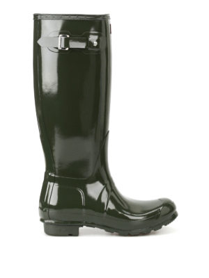Hunter: boots - Tall Gloss olive rubber boots