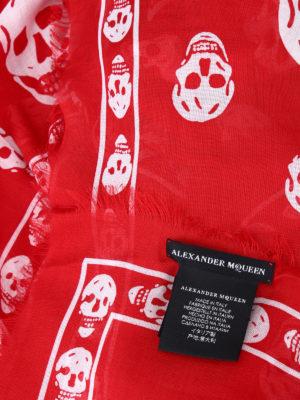 iKRIX Alexander Mcqueen: scarves - Skull patterned red scarf