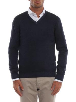 iKRIX FAY: maglia collo a v - Pullover a V in lana merino blu scuro