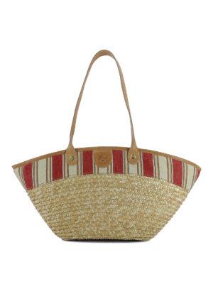 IL BISONTE: shopper - Shopper in paglia e lino a righe